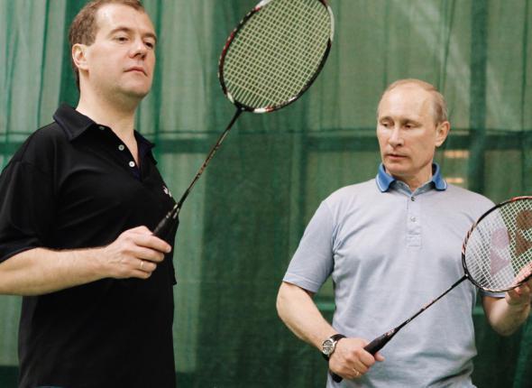 бадминтон Медведев Путин